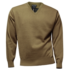 Franco Ponti Classic Vee Neck Sweater - Medium Weight - Camel