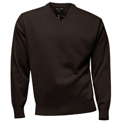 Franco Ponti Classic Vee Neck Sweater - Medium Weight - Chocolate