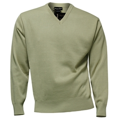 Franco Ponti Classic Vee Neck Sweater - Medium Weight - Oatmeal