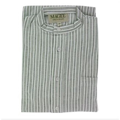 Magee Men's Green Striped Brushed Cotton Nightshirt - Twin Green Stripe