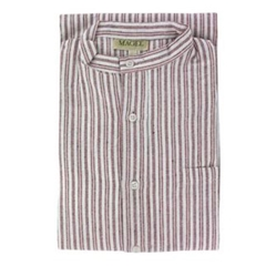 Magee Men's Red Stripe Brushed Cotton Nightshirt - Twin Red Stripe