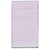 Box Of 6 Ladies Handkerchiefs - Pale Pink White Border