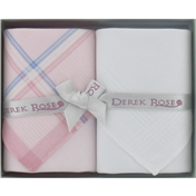 Gift Box of Two Ladies Handkerchiefs by Derek Rose - White and Light Pink Design