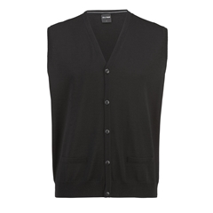 Olymp Knitwear - Olymp Merino Wool Sleeveless Cardigan Black