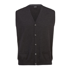 Olymp Knitwear - Olymp Merino Wool Sleeveless Cardigan Charcoal