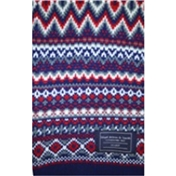 Navy / Red - Multicoloured Patterned Acrylic Fashion Scarf