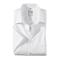 Olymp Comfort Fit Short Sleeve Shirt - White with New Kent Collar