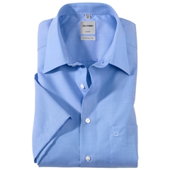 Olymp Comfort Fit Short Sleeve Shirt - Blue Fil-à-Fil Style