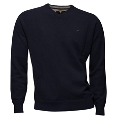 Fynch-Hatton Wool & Cashmere V Neck - Navy - Size XL Only