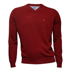 Fynch Hatton Wool & Cashmere V Neck - Crimson