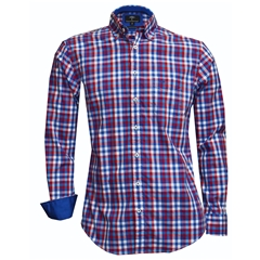 Fynch Hatton Shirt - Red & Navy Check - Size 5XL Only