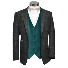 Pewter-Green Shetland Check Jacket with Kingfisher-Blue Trim - Waistcoat Option Available
