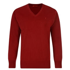 Gabicci Half V Neck Sweater - Red