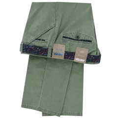 Meyer Textured Cotton Trouser - Olive Green - Chicago 5013 25