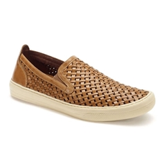 Anatomic & Co Woven Leather Slip On Shoes - Macau - Bronze Touch
