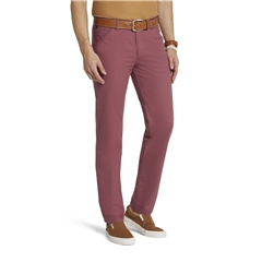 New 2021 Meyer Micro Structure Cotton Chino Trouser - Red - Chicago 5039 56