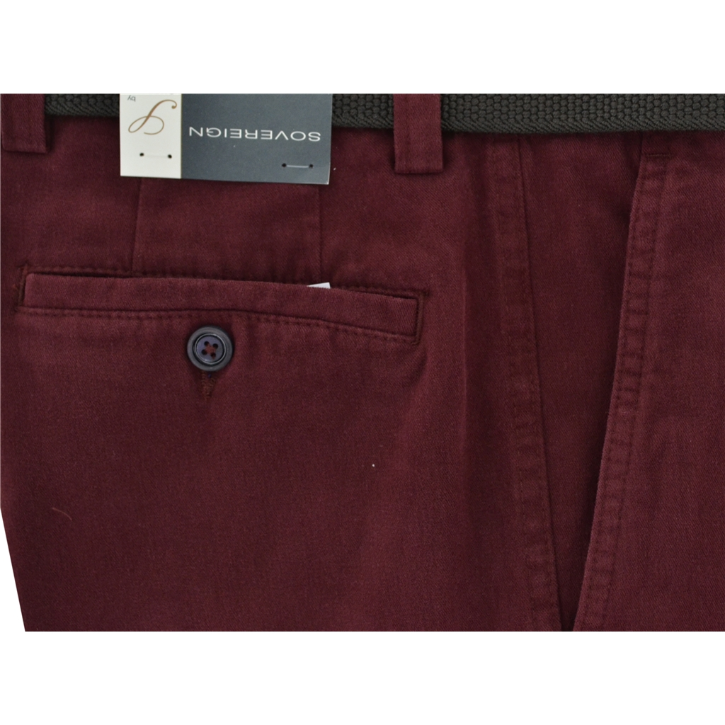 Gurteen Longford Mid Weight Cotton Trouser - Wine - Online Exclusive