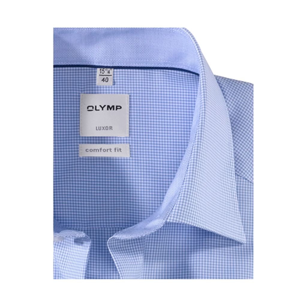Olymp Comfort Fit Shirt - Sky Blue Gingham Check