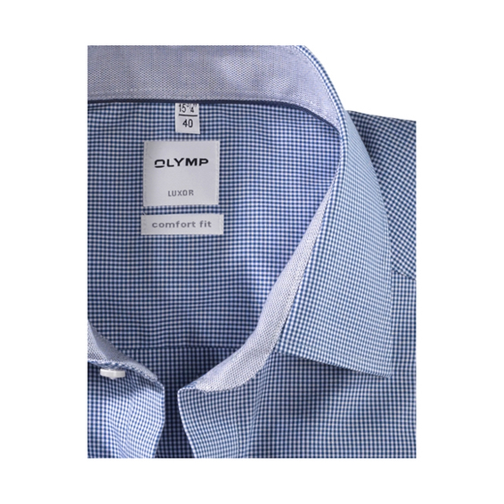 Olymp Comfort Fit Shirt - Navy Gingham Check