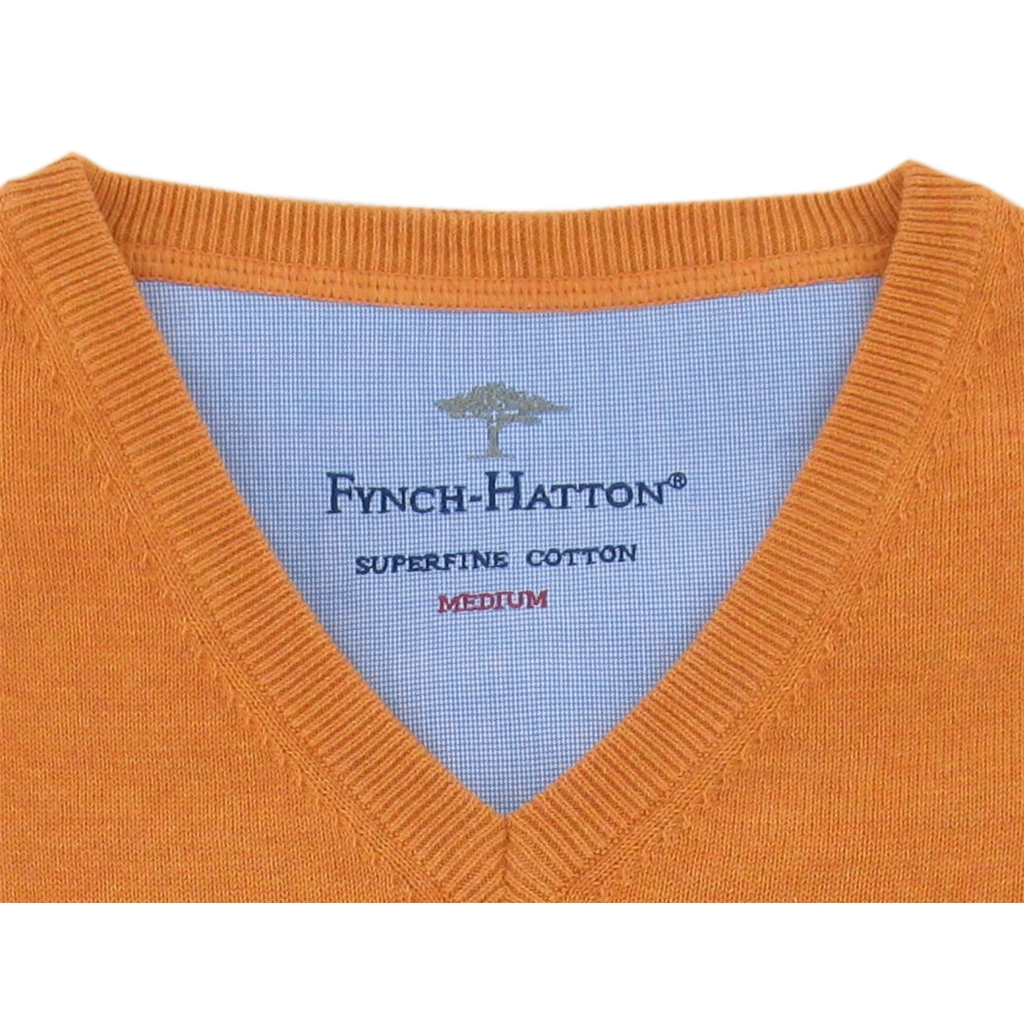 Fynch-Hatton Superfine Cotton V-Neck - Carrot - Size 5XL Only