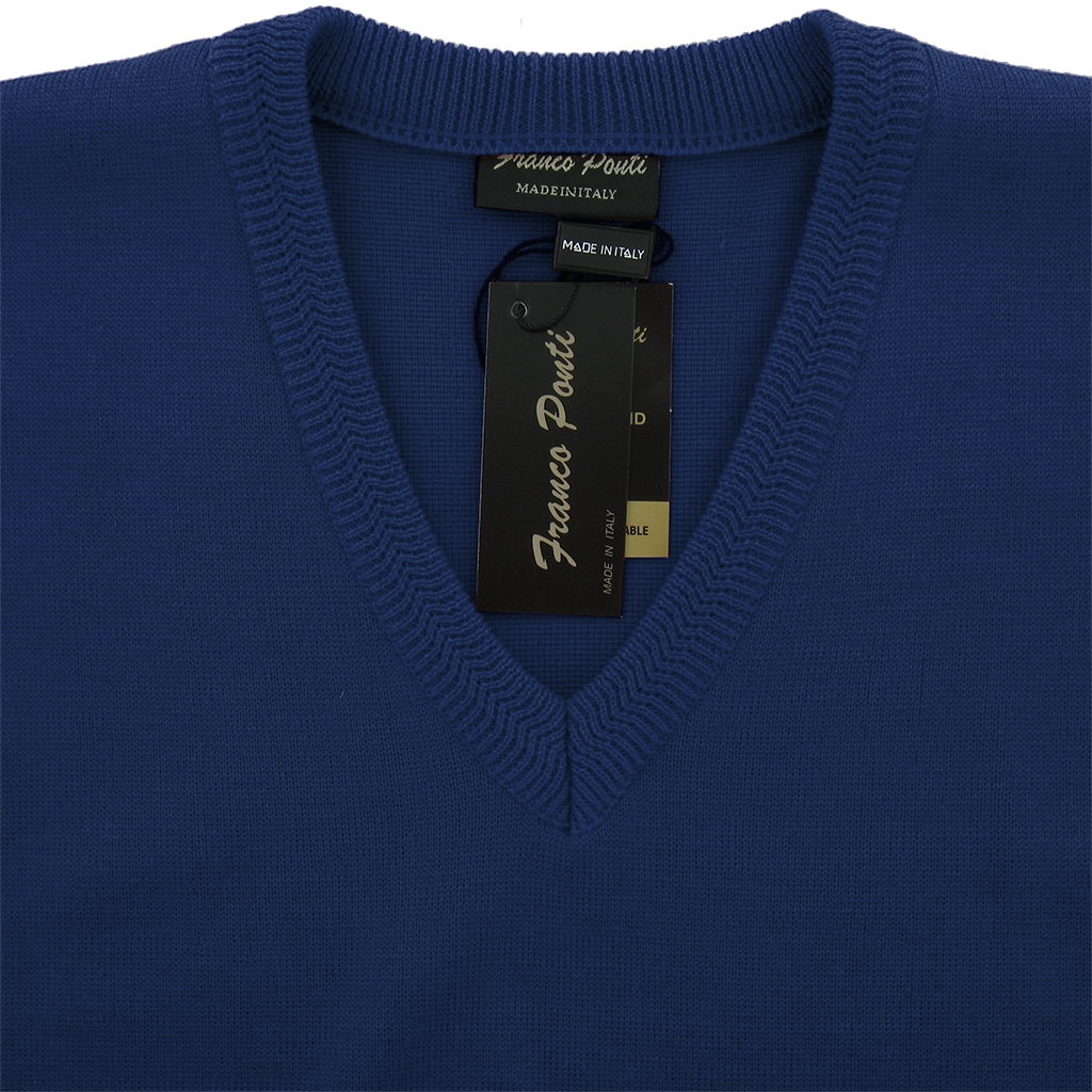 Franco Ponti Vee Neck Sweater - Cobalt
