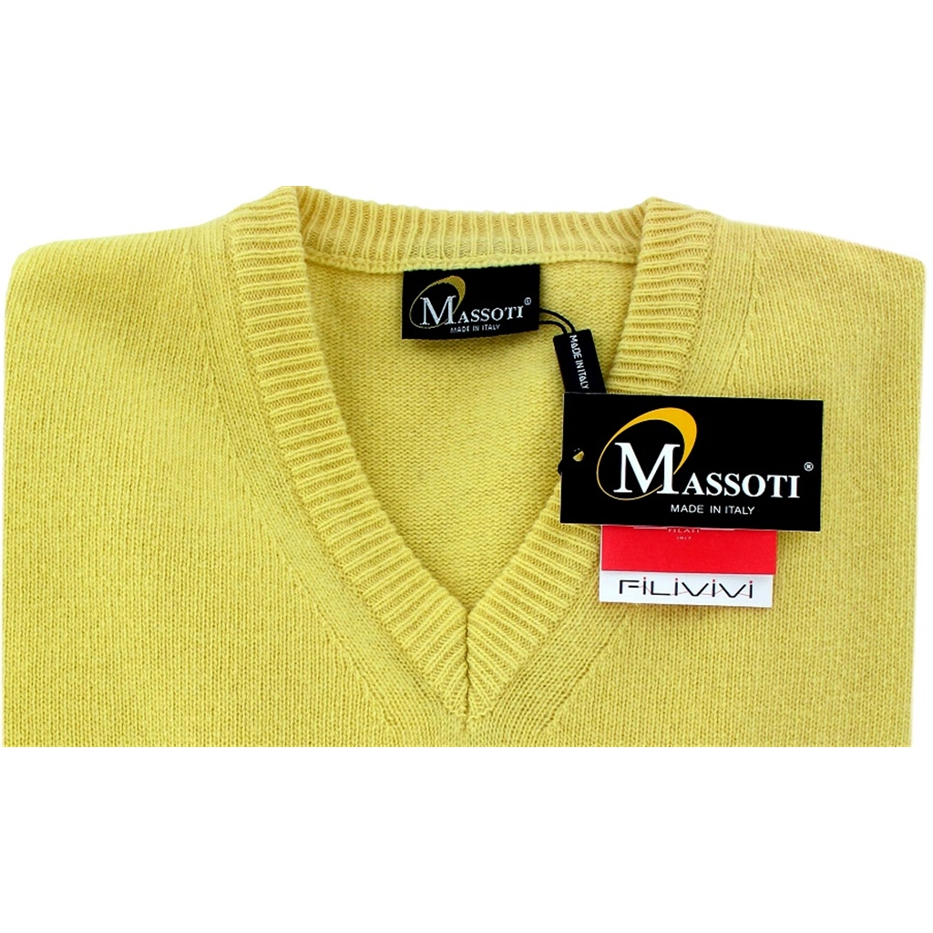 Franco Ponti 100% Lambswool Vee Neck Sweater - Lemon