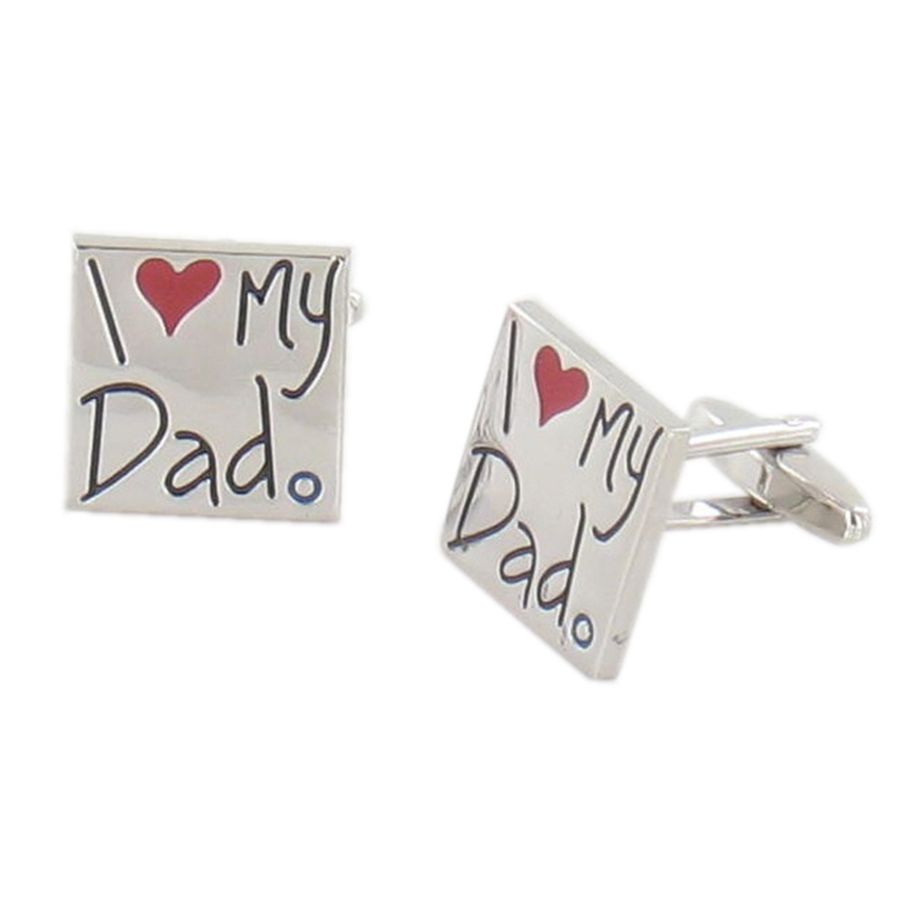 I Love My Dad Cufflinks - Fathers Day Cuff Links in Green Luxury Antique Style Leatherette Gift Box - Fathers Day Gift