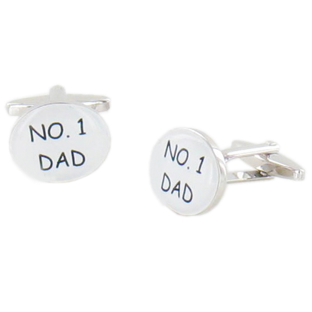 Number One Dad Cufflinks - Fathers Day Cuff Links in Black Luxury Antique Style Leatherette Gift Box - Fathers Day Gift