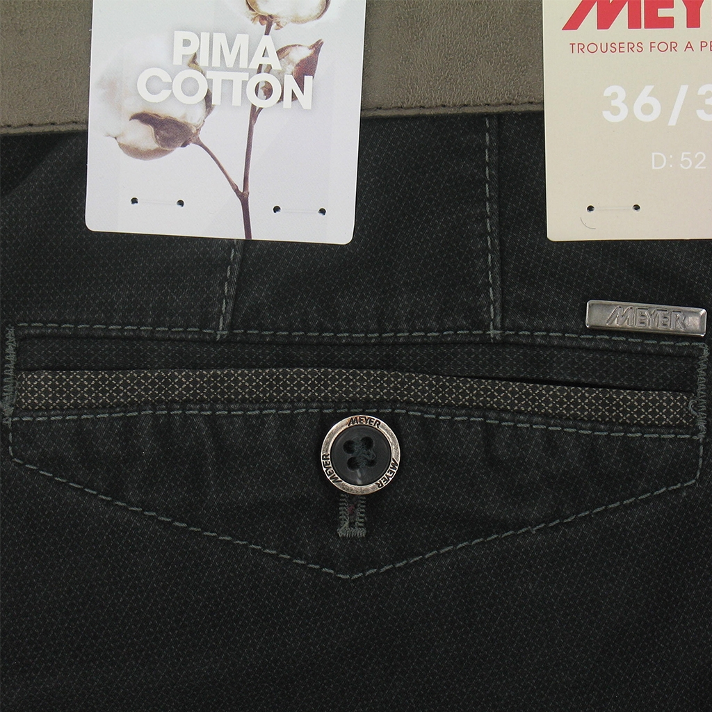 Meyer Trousers Black Luxury Cotton - Size 44L Only
