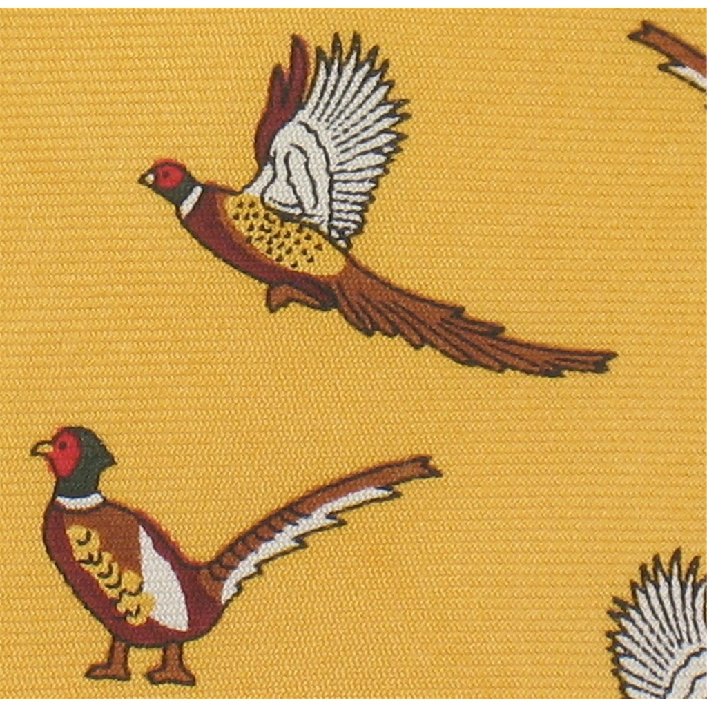 The Silk Tie Company - Amber Mustard Tie with Pheasant Design - 100% Silk