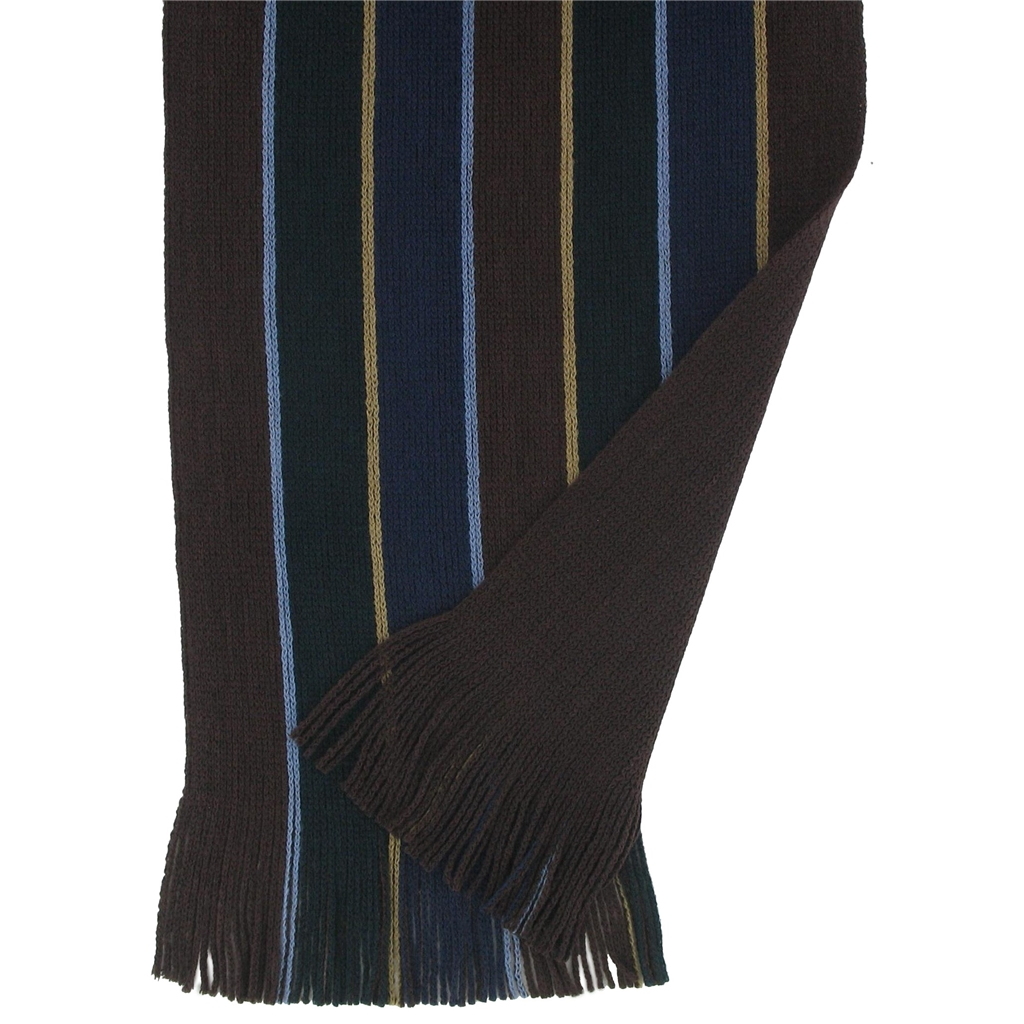 Men's Knitted Scarf - Brown Double Stripe Face Design Men's Scarf