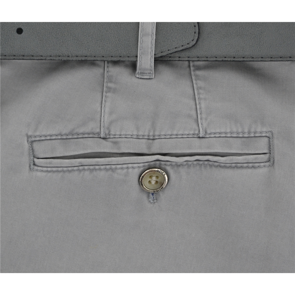 "Meyer Luxury Cotton & Silk Trousers - Silver - Style Madrid 7050 06 - Size 38""L Only"