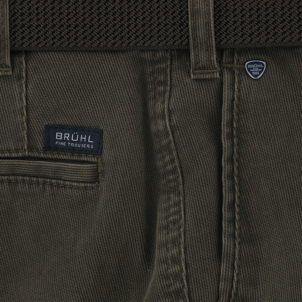 Bruhl Cotton Cotele Trouser - Dark Taupe - Montana 182790 580