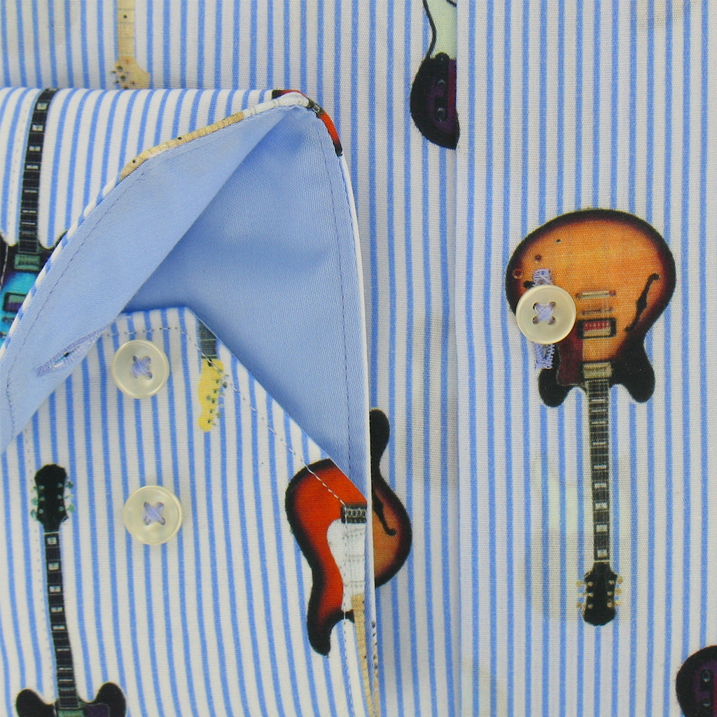 Giordano Shirt - Guitars on Blue Stripes - Modern Fit - Size Medium Only