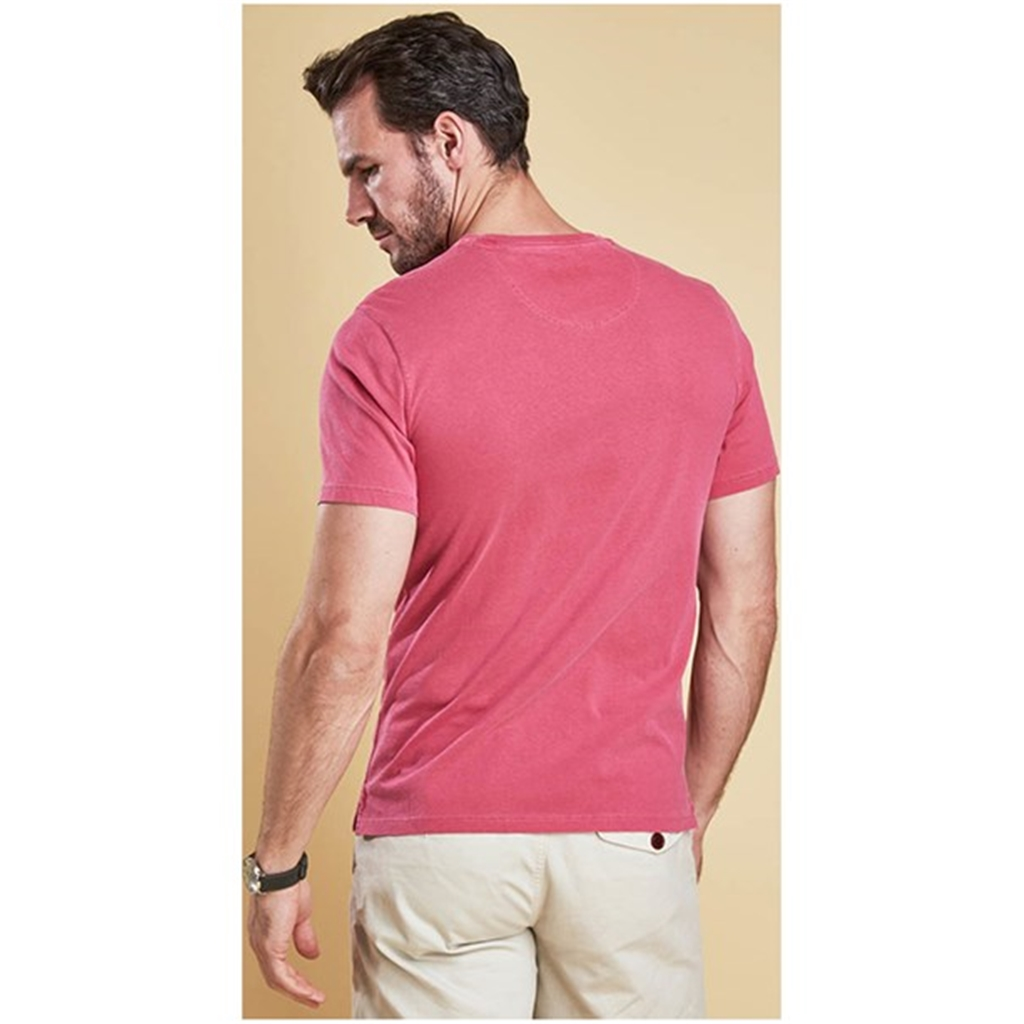 New 2018 Barbour Men's Garment Dyed Tee - Fuchsia