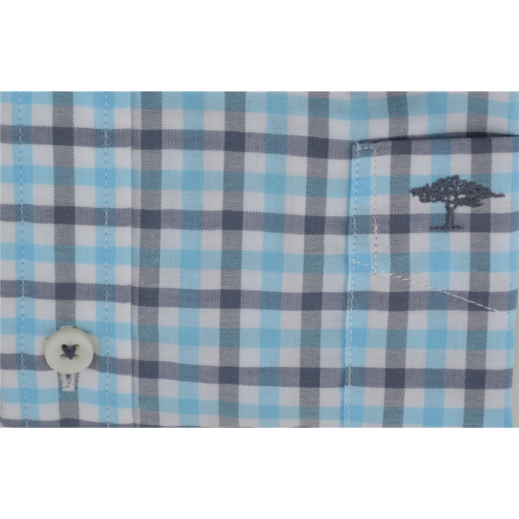 Fynch-Hatton Shirt - Grey & Turquoise - Size Medium Only