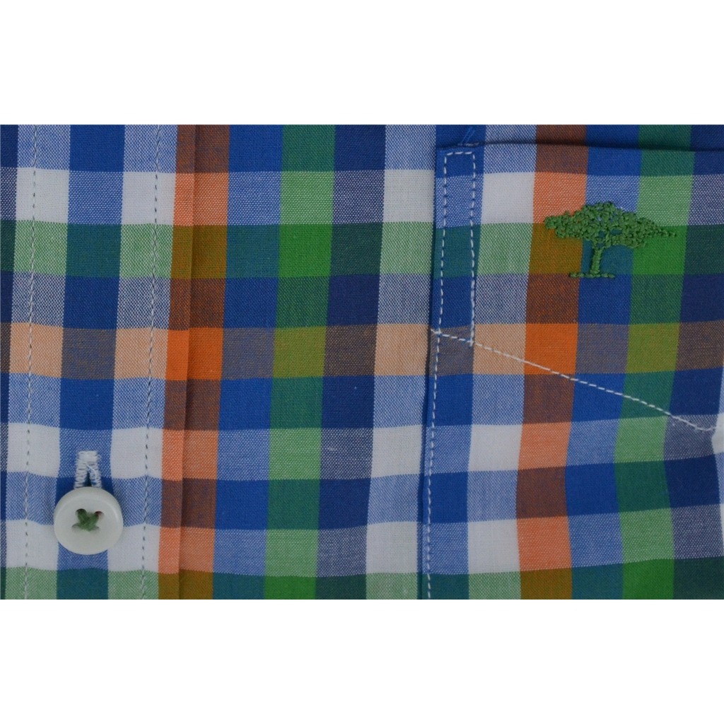 Fynch Hatton Shirt - Green,Navy & Orange Check - Size 5XL Only