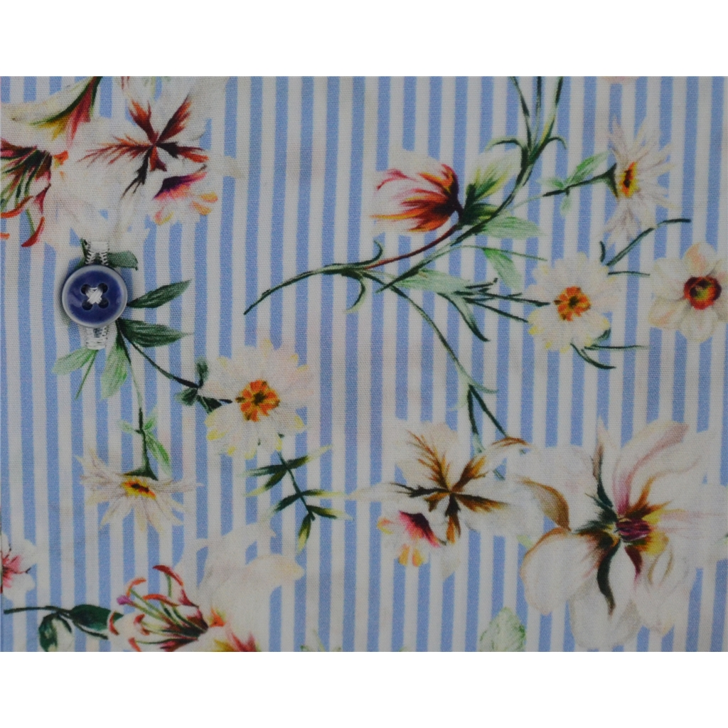 Giordano Shirt - Flowers On Blue Stripe - Size Large Only