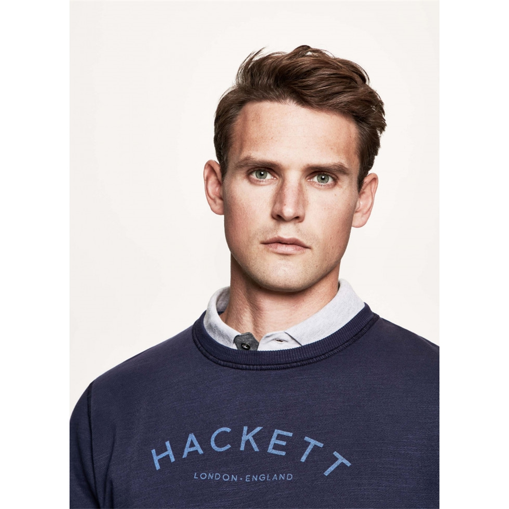Hackett Logo Print Cotton Sweater - Ink - Size Large Only
