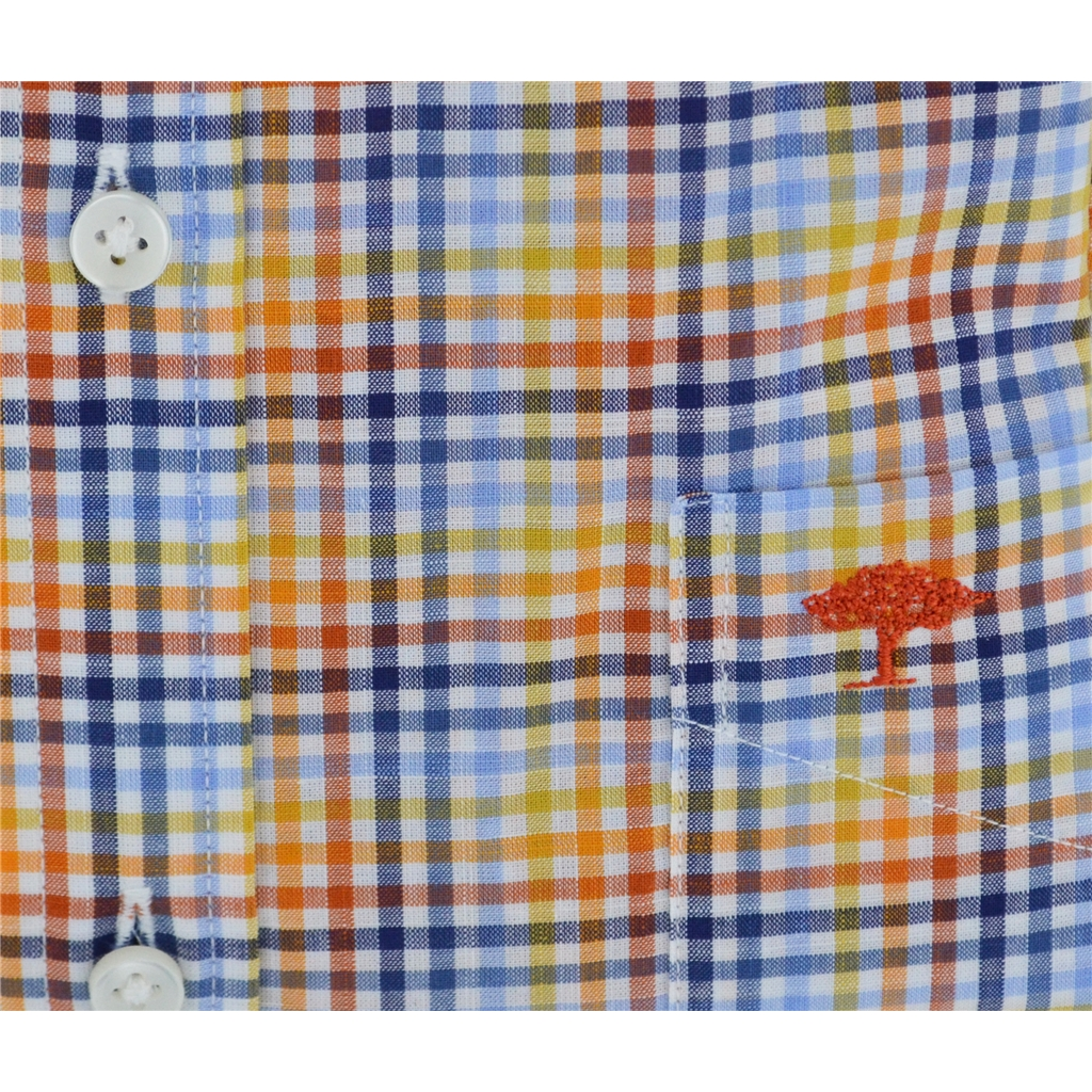 Fynch Hatton Half Sleeve Shirt - Mango & Blue