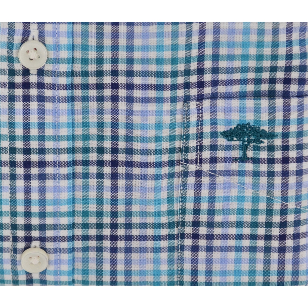 Fynch Hatton Half Sleeve Shirt - Turquoise & Blue