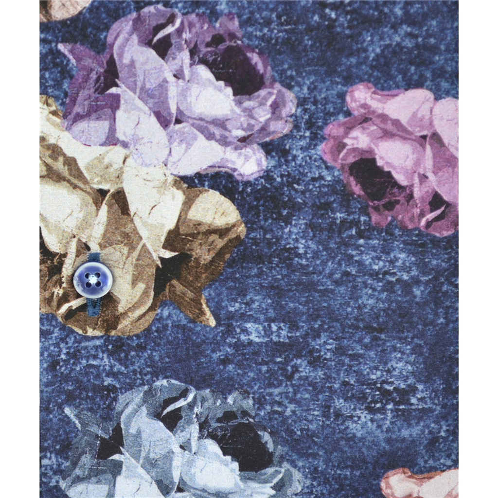 Autumn 2018 Giordano Abstract Flowers on Navy Shirt