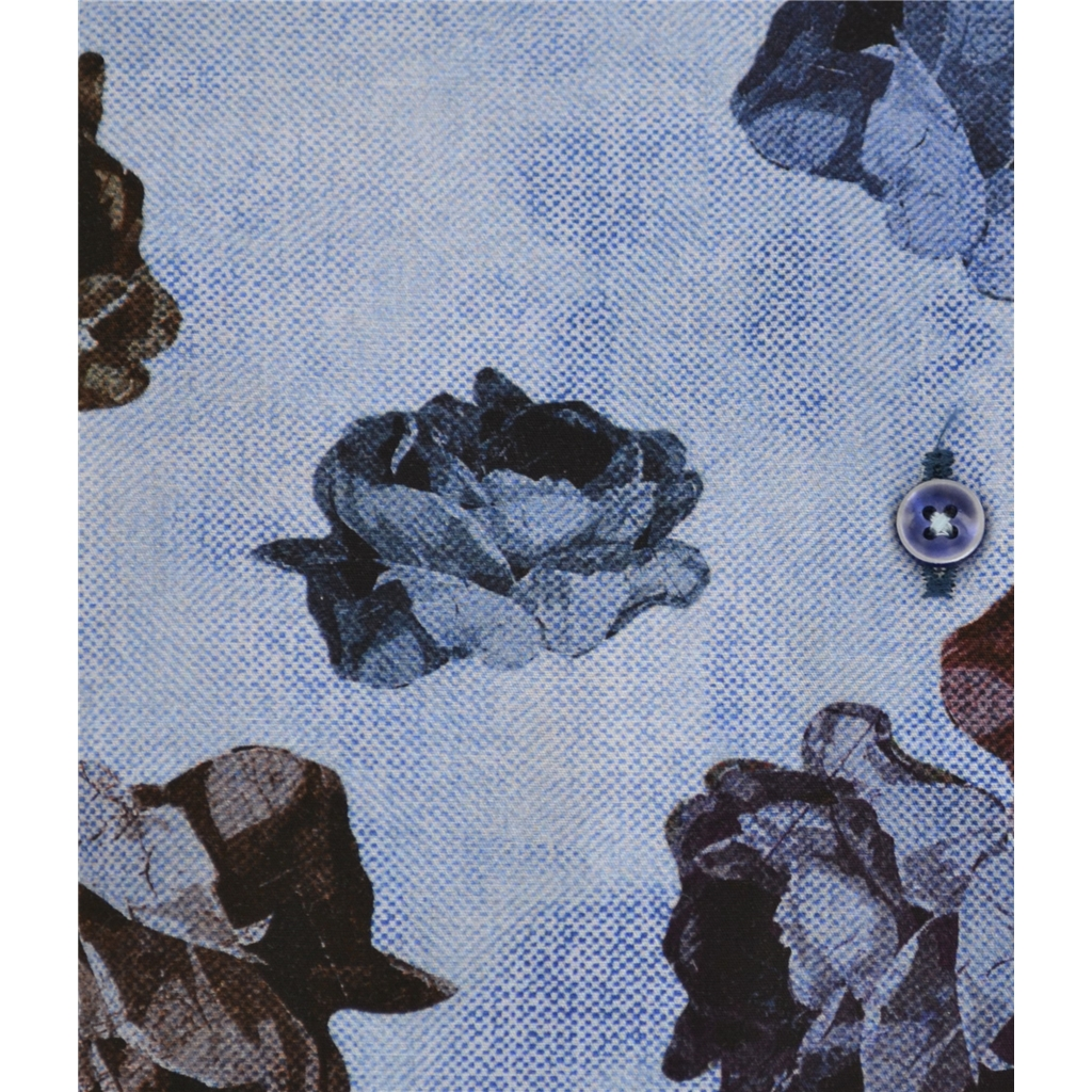 Autumn 2018 Giordano Abstarct Flowers on Sky Blue Shirt