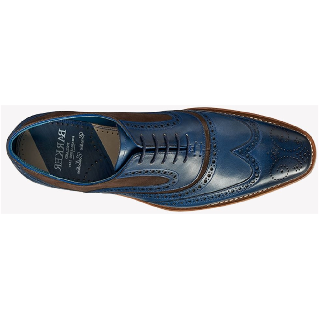 Barker McClean - Navy Hand Painted / Choc Suede