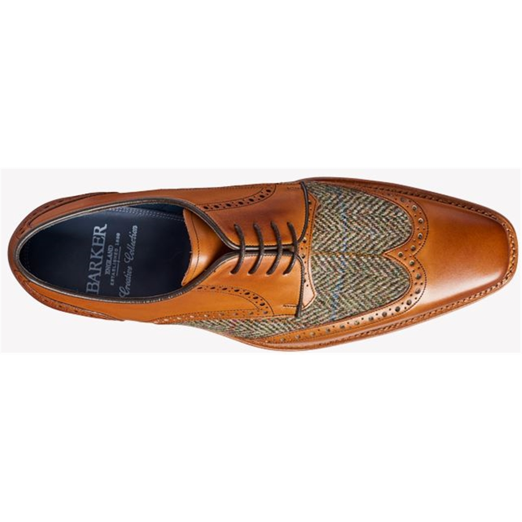 Barker Jackson - Cedar Calf / Green Harris Tweed