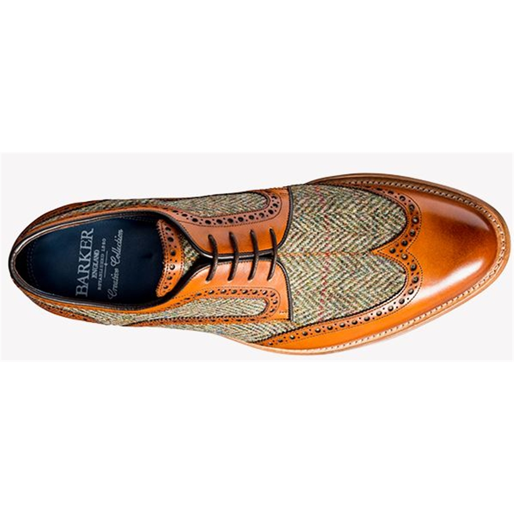 Barker Dowd - Cedar Calf / Green Harris Tweed