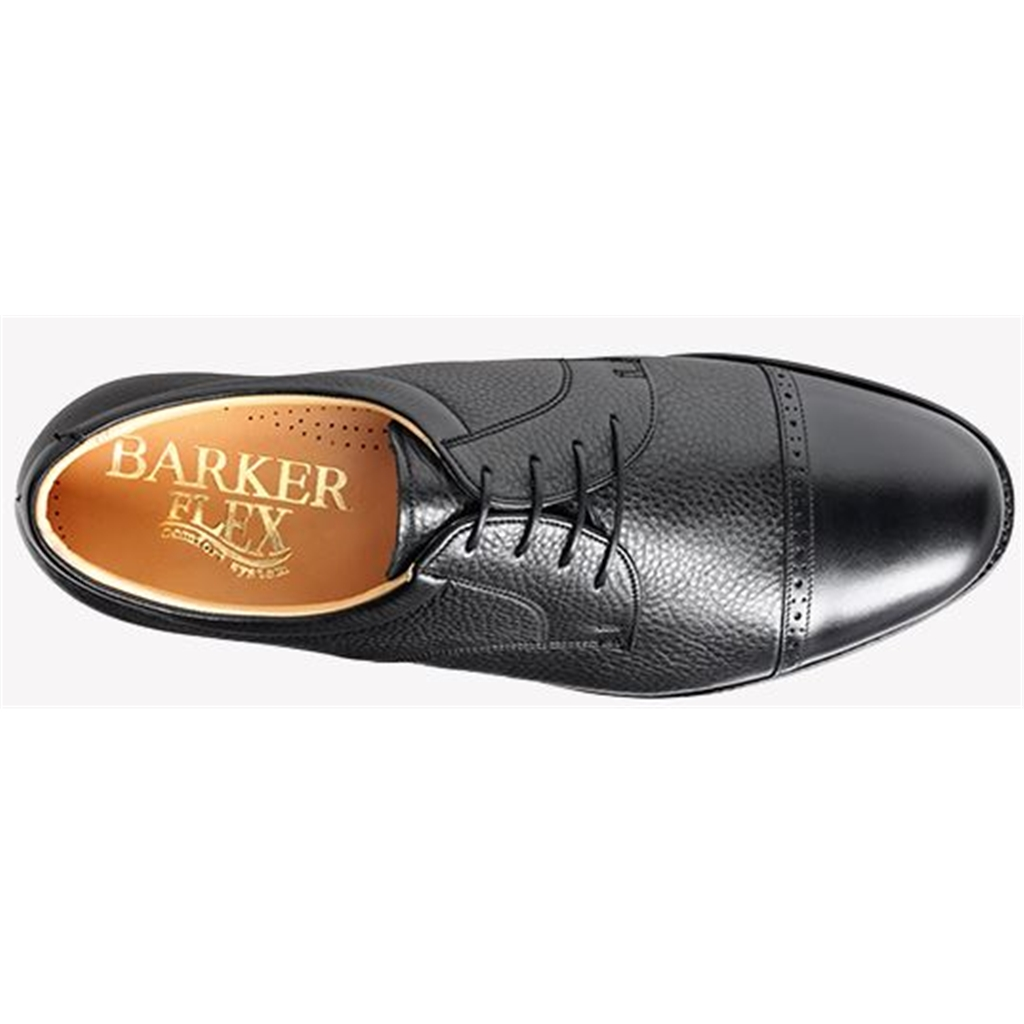 Barker Staines Shoes - Extra-Wide Fitting Quarter-Brogue - Black Softie / Hi-Shine