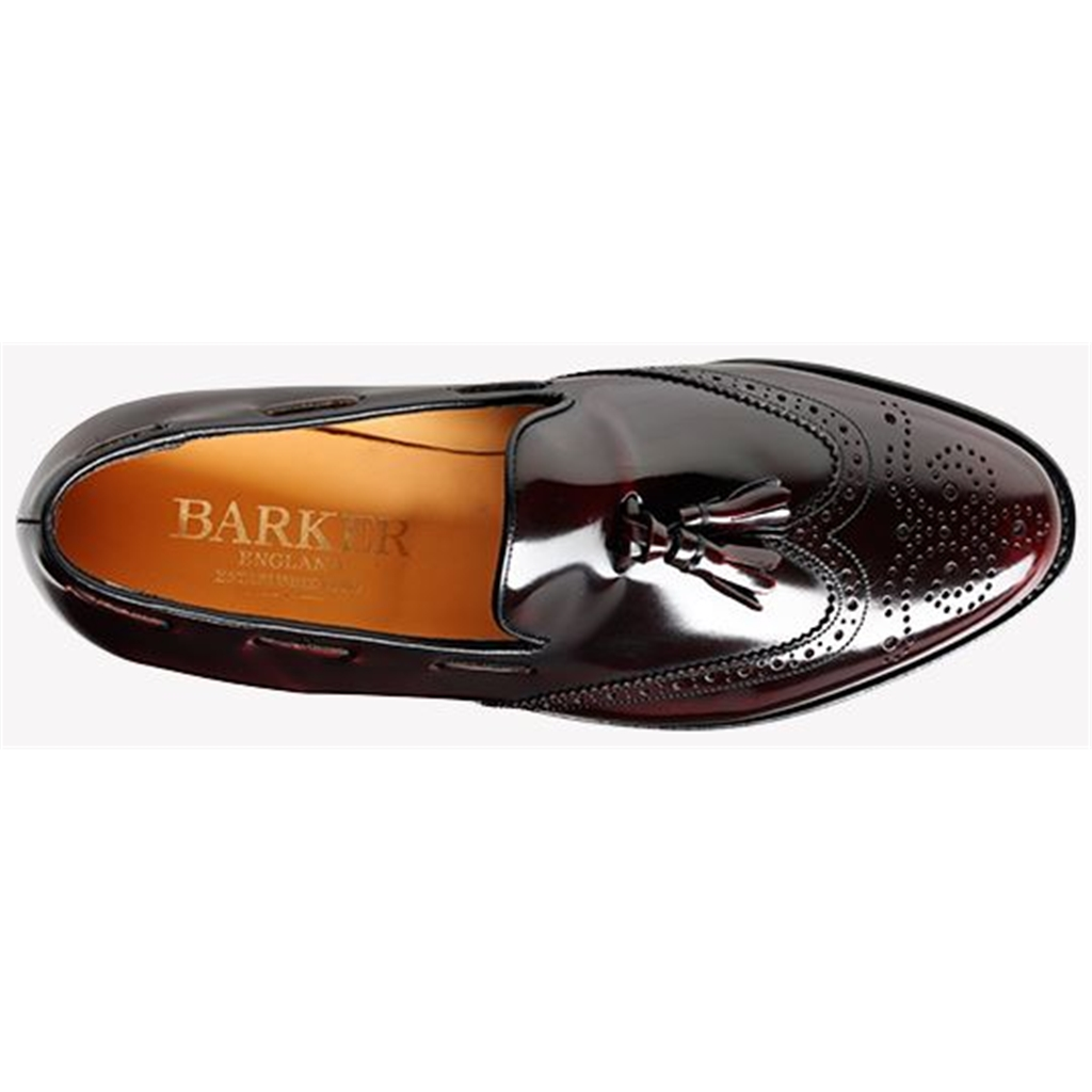 Barker Clive Shoes - Brogue Tasselled Loafer - Burgundy Hi-Shine