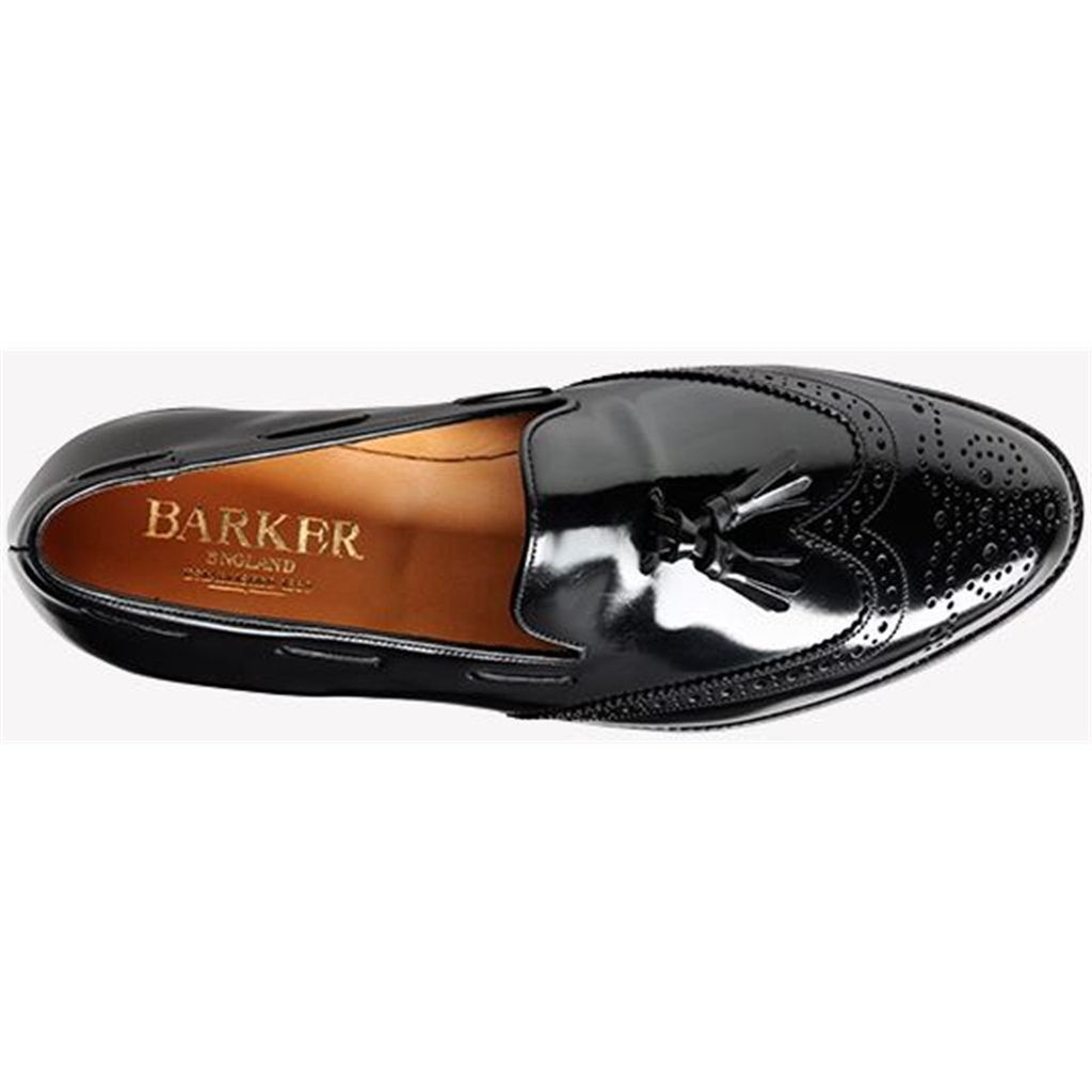 Barker Clive Shoes - Brogue Tasselled Loafer - Black Hi-Shine