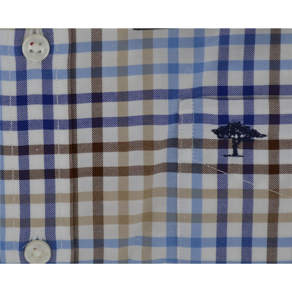 Fynch-Hatton  Cotton Shirt - Navy Earth Check